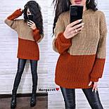 Женский удлиненный вязаный свитер из полушерсти двухцветный (р. 42-46) 904963, фото 6