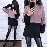 Женский удлиненный вязаный свитер из полушерсти двухцветный (р. 42-46) 904963, фото 8