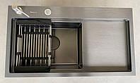 Мойка кухонная из нержавеющей стали Germece Handmade 78*43 черная ПРАВАЯ