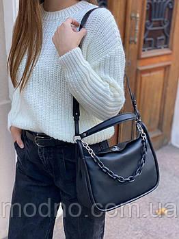 Женская стильная кожаная сумка с цепочкой на и через плечо Polina & Eiterou