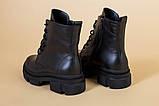 Ботинки женские кожаные черные на шнурках и с замком, зимние, фото 5