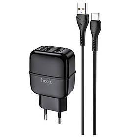 Зарядное устройство к телефону Hoco C77A (2USB/2.4A) + Type-C