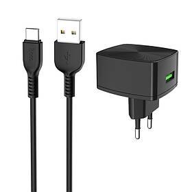 Зарядное устройство к телефону Hoco C70A QC3.0 (1USB/3A) + Type-C
