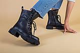 Ботинки женские кожаные черные на шнурках и с замком, зимние, фото 6