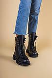 Ботинки женские кожаные черные на шнурках и с замком, зимние, фото 7