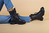 Ботинки женские кожаные черные на шнурках и с замком, зимние, фото 2