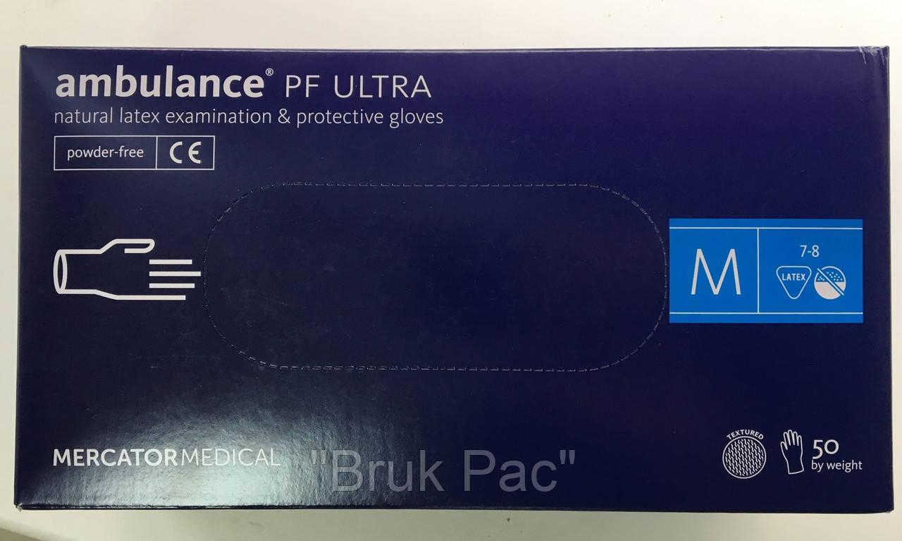 """Перчатки латексні сині універсальні Ambulance PF Ultra """"M""""  50 штук або 25 пар."""