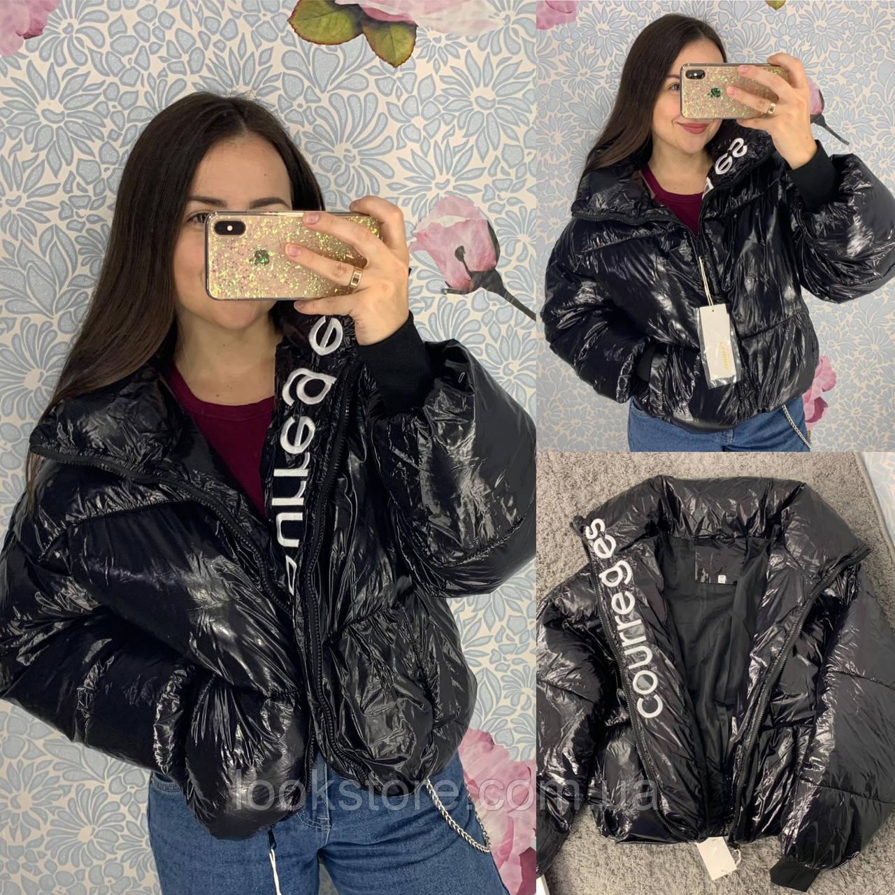 Женская короткая лаковая куртка пуховик Courreges черная