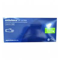 """Перчатки латексні сині універсальні Ambulance PF Ultra """"S"""" 50 штук або 25 пар."""