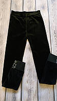 Модные велюровые штанишки на меху с высокой посадкой