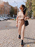 Женский повседневный  костюм Цвет : бежевый, пудра, чёрный. Размер S-М и М-L, фото 5