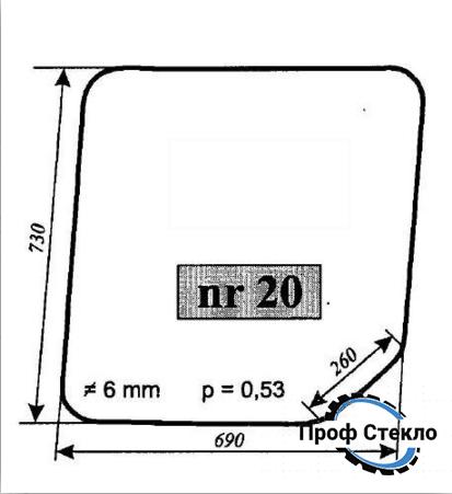 Стекло spycho экскаватор OSTRÓWEK KL-0102 - левой двери