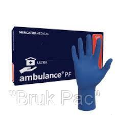 """Перчатки латексні сині універсальні Ambulance PF Ultra """"L""""  50 штук або 25 пар."""