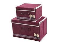 Короб кофр для хранения вещей (набор 2 шт) Бордовый в горох