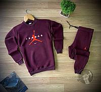 Спортивный костюм зимний мужской Nike Jordan бордовый на флисе | Комплект Джордан теплый ТОП качества
