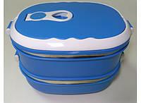 Контейнер пищевой 2 уровня Сине-белый