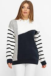 Зручний светр в'язаний в розмірі over size біло-чорного кольору