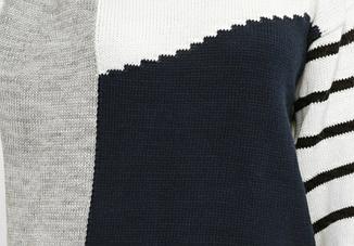 Свитер удобный вязаный в размере over size бело-чёрного цвета, фото 3