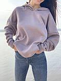 Худи с капюшоном удлиненное Цвета: фиалка, молоко, чёрный, мокко  Размеры: 42-46, 48-52., фото 10