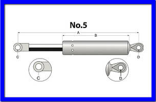 Газовий амортизатор вікон A=505 B=255 F=2100N Manitou MSI20N, MSI25, MSI30 211101