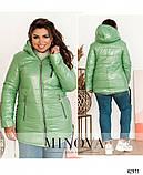 Стильная куртка батал с капюшоном и врезными карманами по бокам большого размеры: 54, 56, 58, 60, 62, 64, фото 3