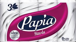 Бумажные полотенца Papia 3 слоя 8 рулонов (8690536011063)