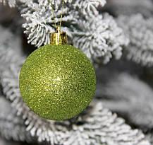 Куля новорічна зелена мікс D 6 см (60мм), фото 3
