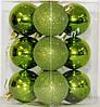 Куля новорічна зелена мікс D 6 см (60мм), фото 2