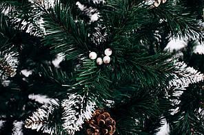 Ялинка штучна Різдвяна з шишкою і калиною біла 2 м, фото 2