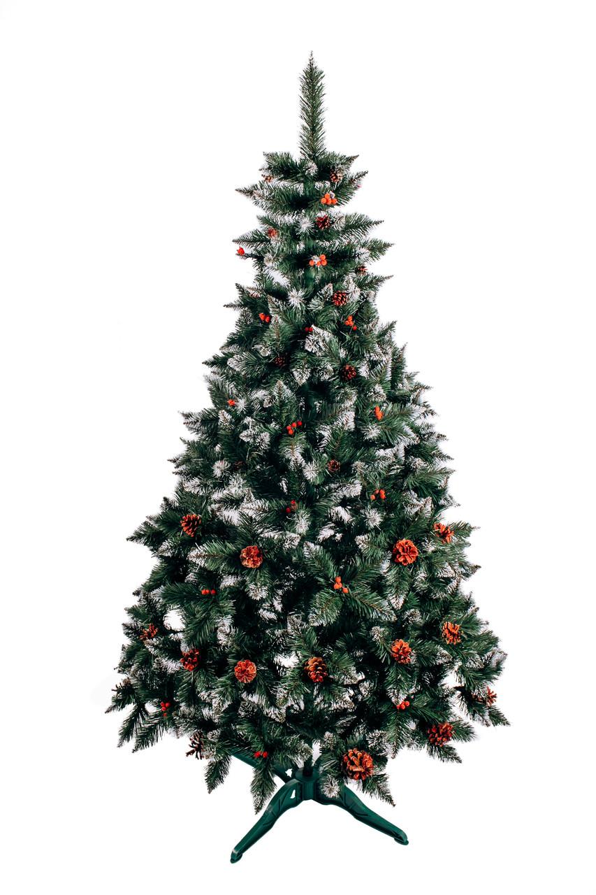 Ялинка штучна Різдвяна з шишкою і калиною червона 1,5 м