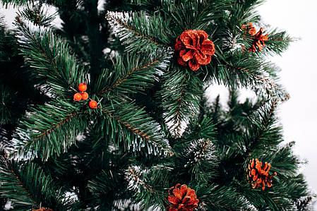 Ялинка штучна Різдвяна з шишкою і калиною червона 1,5 м, фото 2