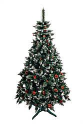 Ялинка штучна Різдвяна з шишкою і калиною червона 2,5м