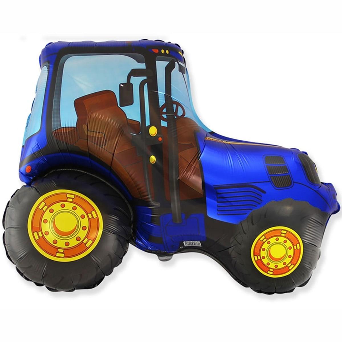 Фольгированный шар большая фигура Трактор синий 78х94см Flexmetal