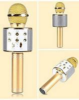 Беспроводной караоке микрофон со встроенной колонкой DM Karaoke WS858 ЗОЛОТО GOLD (USB/Bluetooth)