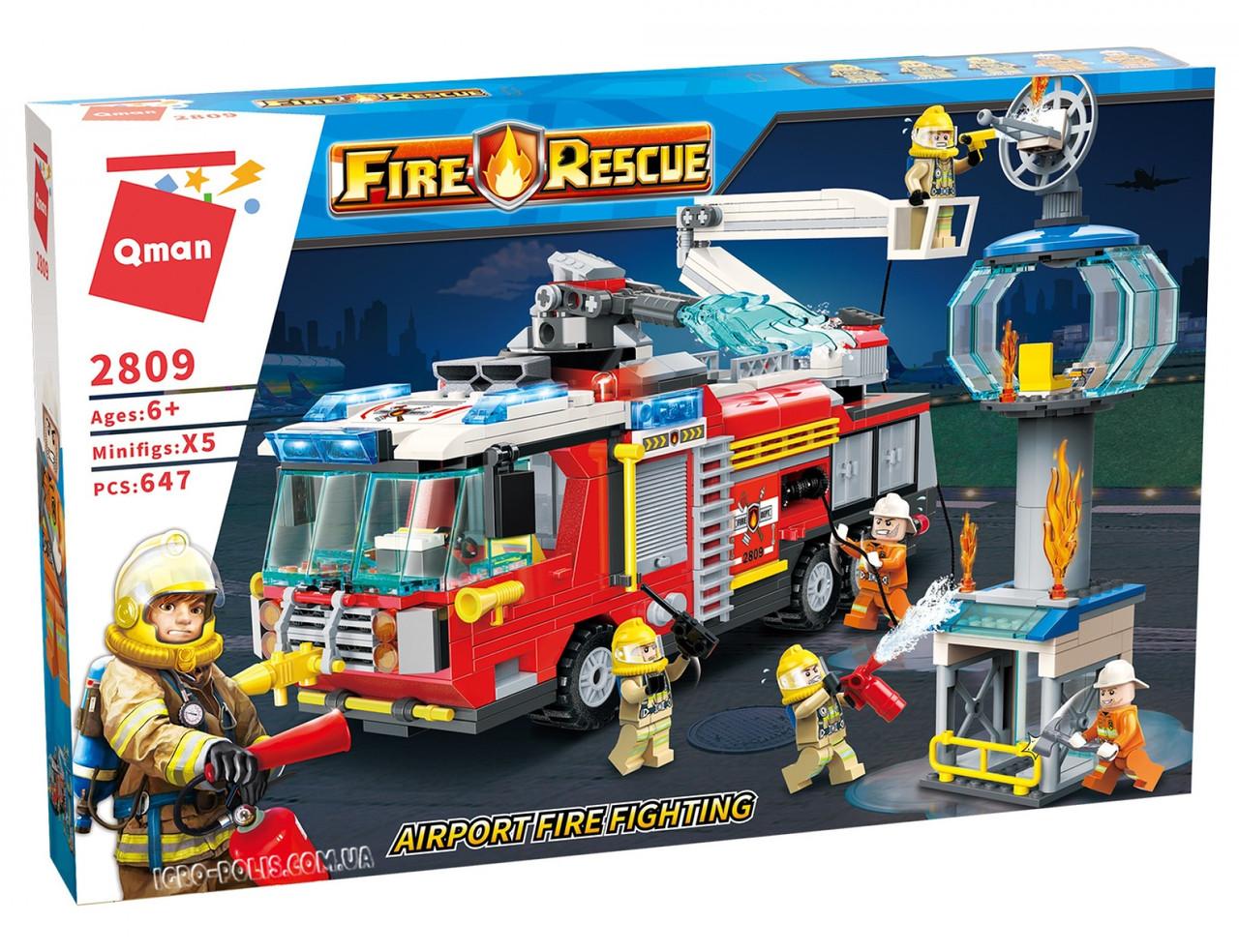 """Конструктор Qman Fire Rescue 2809 """"Пожарная станция"""", 647 дет"""