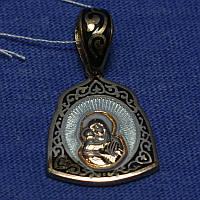 Нательная серебряная иконка Богородица с эмалью и позолотой 341058