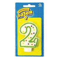 """Свечка с датой в торт для дня рождения """"2"""" в горох"""