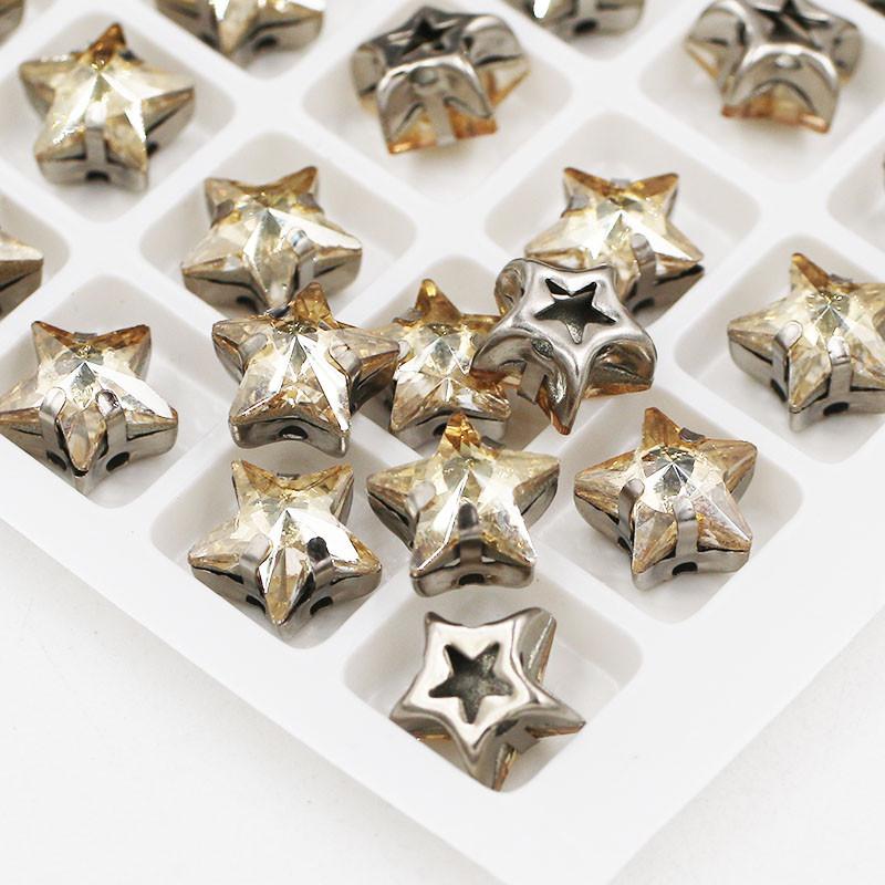 Стразы пришивные в цапах, форма звезда золотистая, стекло, 10 мм