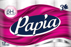 Туалетная бумага Papia 3-слойная белая (12 рулонов в упаковке) (8690536010035)