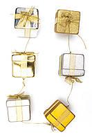 "Гирлянда ""подарок""(6 подарков) 1,83м, пластик, золото-серебро (110025-2)"