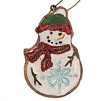 Фигурка сувенирная из полистоуна, h-7.6 см, Снеговик в зеленой шапке, (000630-4)
