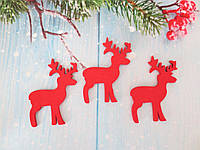 """Новогодний деревянный декор """"Олень"""", 55х45 мм, цвет красный, 1шт."""