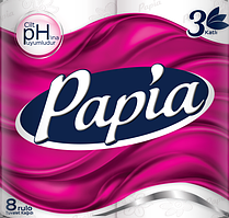 Туалетная бумага Papia 3-слойная белая (8 рулонов в упаковке)(8690536010028)