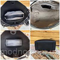 Женская кожаная вместительная сумка на и через плечо с цепочкой Polina & Eiterou, фото 10