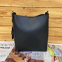 Женская кожаная вместительная сумка на и через плечо с цепочкой Polina & Eiterou, фото 8