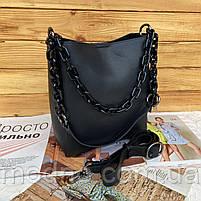 Женская кожаная вместительная сумка на и через плечо с цепочкой Polina & Eiterou, фото 7