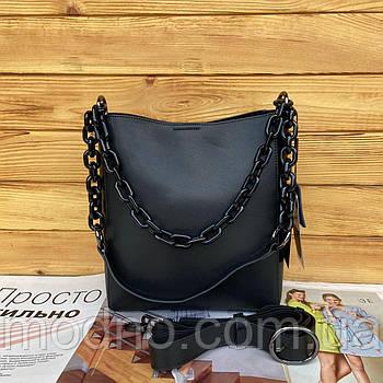 Женская кожаная вместительная сумка на и через плечо с цепочкой Polina & Eiterou