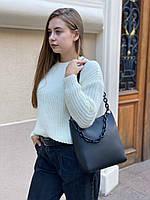 Женская кожаная вместительная сумка на и через плечо с цепочкой Polina & Eiterou, фото 4