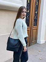 Женская кожаная вместительная сумка на и через плечо с цепочкой Polina & Eiterou, фото 5