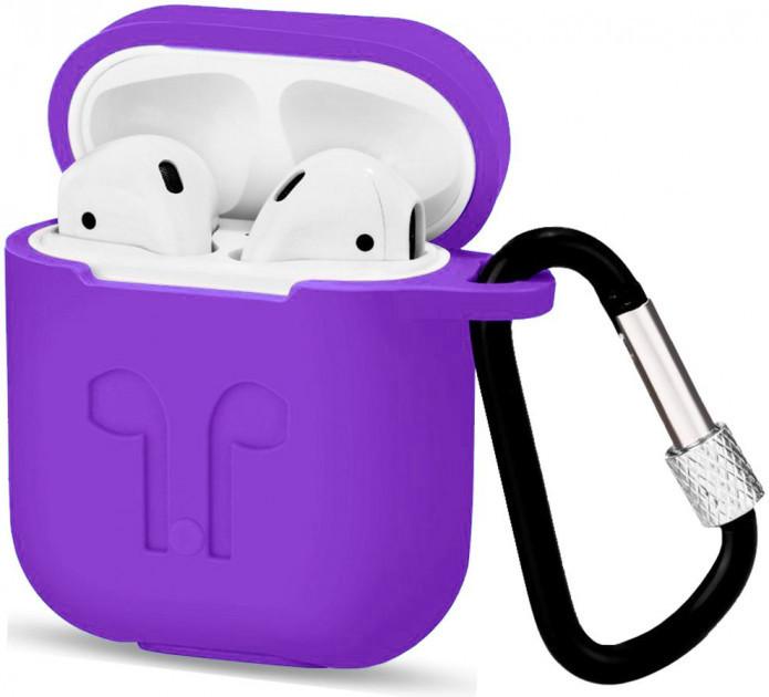 Чехол для AirPods силиконовый с карабином Фиолетовый